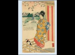 Y3583/ Geisha Japan schöne Litho Künstler AK ca.1900