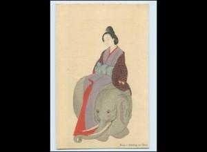 Y3590/ Japan Geisha und Elefant Künstler AK Okyo ca.1920