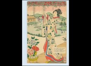 Y3595/ Geisha Japan schöne Litho Künstler AK ca.1900