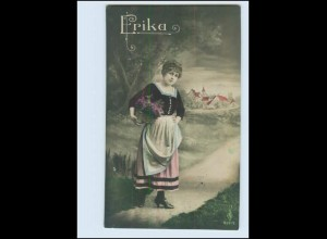 """N9681/ Namen Foto AK """"Erika"""" junge Frau mit Blumen ca.1914"""