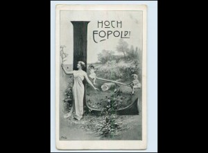 "N9678/ Namen AK Hoch Leopold! Buchstabe ""L"" ca.1900"