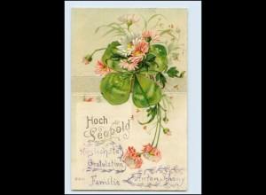 N9675/ Namen Litho Prägedruck AK Hoch Leopold 1905