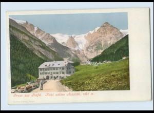 N9867/ Gruß aus Trafoi Hotel schöne Aussicht AK Italien ca.1900