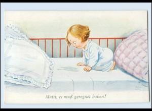Y3095/ John Wills Kind im Bett AK ca.1912
