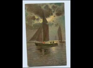 Y3100/ Degi Gemälde AK Segelboot Meeresleuchten v. P. Schreckhaase 1917