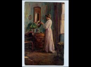 y3099/ Erpaco Gemälde AK Frau mit Hut von Hans Evers AK 1918