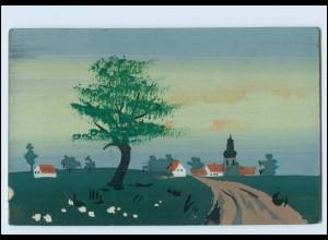 Y3773/ Handgemalt Landschaft mit Häusern 1908 AK