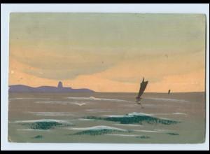 Y3776/ Handgemalt Segelboot auf dem Wasser 1923 AK