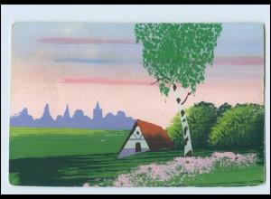 Y3778/ Handgemalt Landschaft mit Haus AK