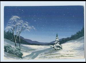 Y3782/ Handgemalt Schneelandschaft AK