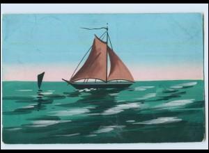 Y3783/ Handgemalt Segelboot 1910 AK