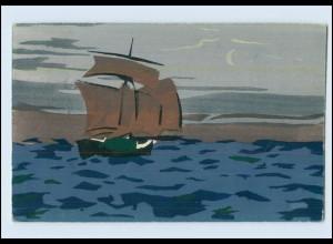 Y3785/ Handgemalt Segelboot 1909 AK