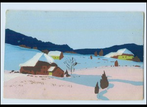 Y3824/ Handgemalt Häuser im Schnee AK