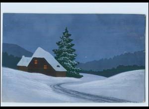 Y3833/ Handgemalt Haus im Schnee 1917 AK
