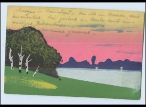Y3806/ Handgemalt Landschaft am Wasser 1925 AK