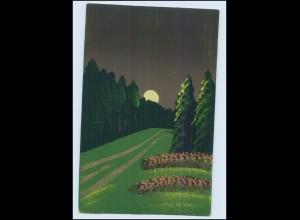 Y3812/ Handgemalt Landschaft im Mondschein 1919 AK