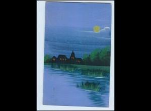 Y3818/ Handgemalt Häuser am Wasser bei Nacht 1921 AK