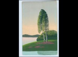 Y3819/ Handgemalt Baum am Wasser 1922 AK
