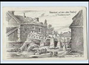 Y3147/ Kriegs-Erinnerungs-Karte Unterstand in Vaudesincourt AK WK1 1915