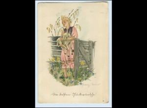 Y3174/ Schwarz-Torinus Glückwunsch AK ca.1940 Mädchen mit Lamm