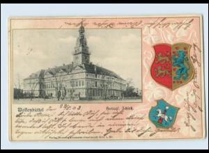 T438-3340/ Wolfenbüttel Schloß Wappen Litho Prägedruck AK 1903