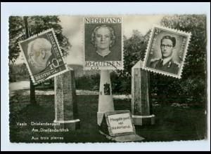 T415/ Grenze Dreiländerpunkt Deutschland Belgien Niederlande Briefmarken AK