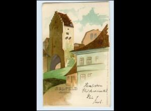 T405-073./ Saalfeld a. S. Saaltor Verlag C. Niese Litho AK 1899