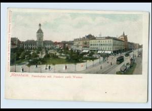 Y3349/ Mannheim Paradeplatz mit Planken nach Westen Straßenbahn ca.1900 AK