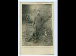 Y3225/ Soldat und Fahrrad Foto AK 1. Weltkrieg 1915