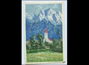 Y3224/ Obergrainau Künstler Litho AK Kirche ca.1920