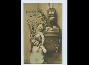 Y3198/ Ostern Kinder mit Telefon Foto AK 1908
