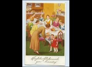 Y3206/ Namenstag Kaffee Kuchen Frauen Kinder AK 1937