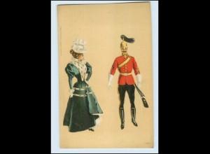 T614/ Jugendstil Litho Ak Frau und Soldat mit Pickelhaube ca.1900