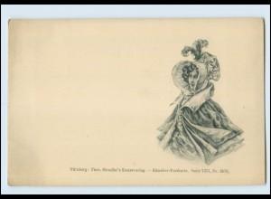 T536/ Frau mit Hut Verlag Theo Stroefer AK ca.1900