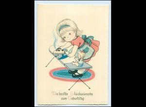 T454/ Geburtstag Mädchen mit Bügeleisen und Puppe AK ca.1955-60
