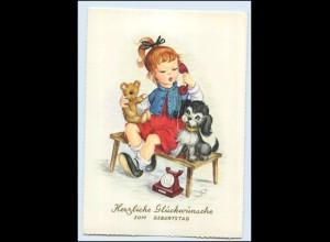 Y3236/ Geburtstag AK Mädchen Hund Teddy Telefon ca.1960