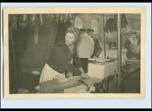 T770/ Wochenmarkt-Verkäufer Wurstwaren Marktstand Foto 1949 Nachkrieg