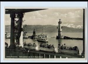 Y3310/ Lindau Hafeneinfahrt Dampfer M/S Deutschland Foto AK ca.1935