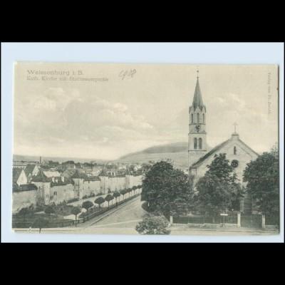Y3376/ Weissenburg Kath.Kirche mit Stadtmauerpartie AK