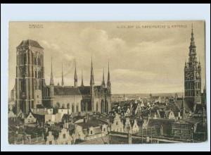 Y3763/ Danzig Marienkirche und Rathaus 1917 AK