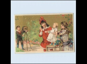 T1151/ Fotoapparat Kinder fotografieren Sammelbild Litho ca. 1900