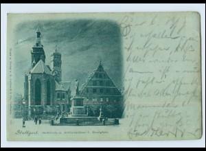 Y4060/ Stuttgart Stadtkirche mit Schillerdenkmal bei Mondschein 1898 AK