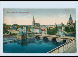 Y4096/ Metz Mittelbrücke mit Jungfernwehr 1918 AK