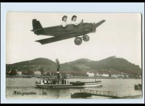 T1079/ Fotomontage Königswinter Frauen im Junkers Flugzeug Fähre Foto AK ca.1930