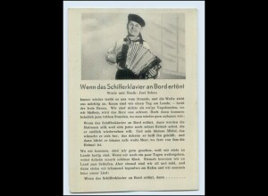 """T1113/ Lieder AK """"Wenn das Schifferklavier an Bord ertönt"""" Akkordeon ca.1935"""