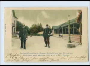 T1066/ Deutsch-französische Grenze Schlucht Elsaß AK 1903