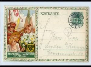 T1064/ Privatganzsache Blumentag in Hannover 1911 Litho AK