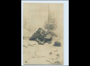 T1061/ J. Arjalew Paris Foto AK Kinder Junge und Mädchen ca.1900