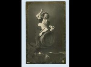 T1031/ Münchener Kindl NPG Granotypie Foto AK Bier Bierkrug Bierfaß 1904
