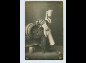 T1030/ Münchener Kindl NPG Granotypie Foto AK Bier Bierkrug Bierfaß 1904